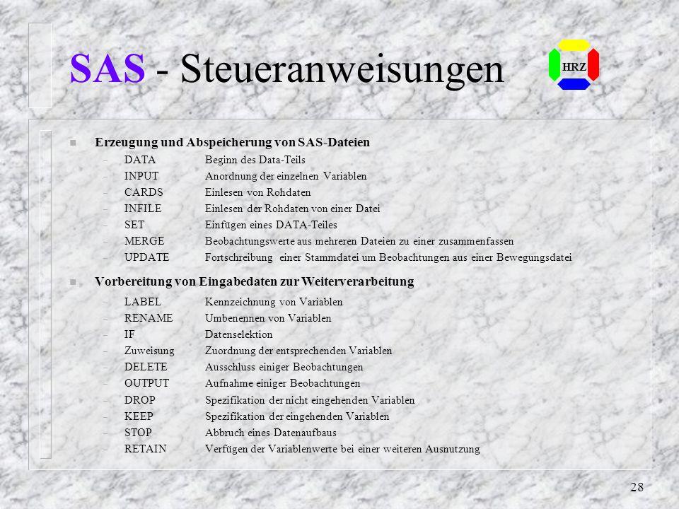 SAS - Steueranweisungen