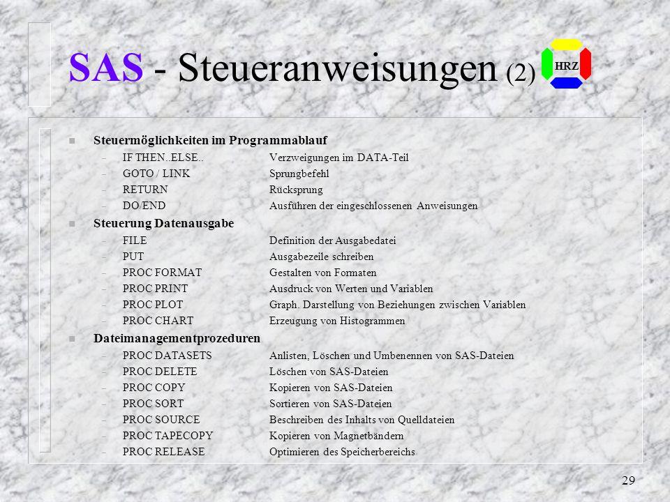 SAS - Steueranweisungen (2)