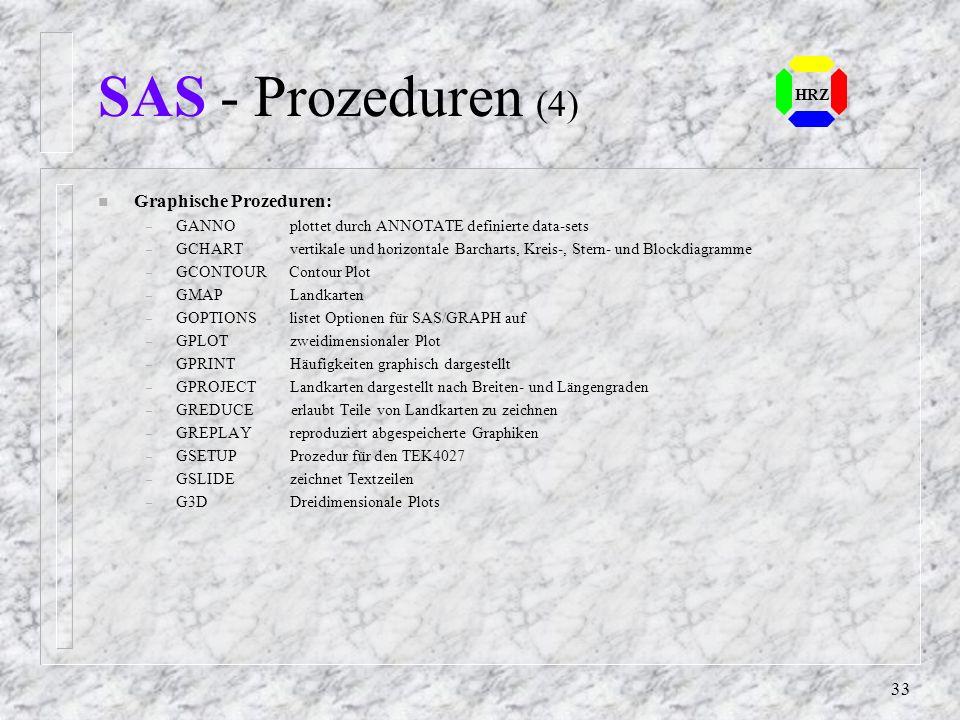 SAS - Prozeduren (4) Graphische Prozeduren: HRZ