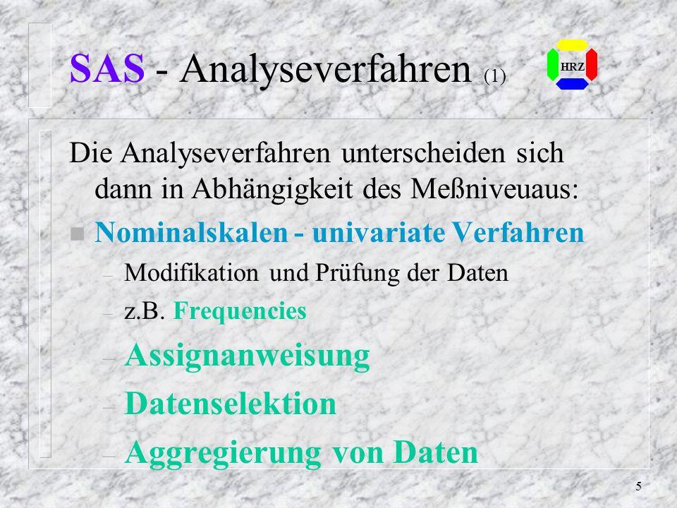 SAS - Analyseverfahren (1)