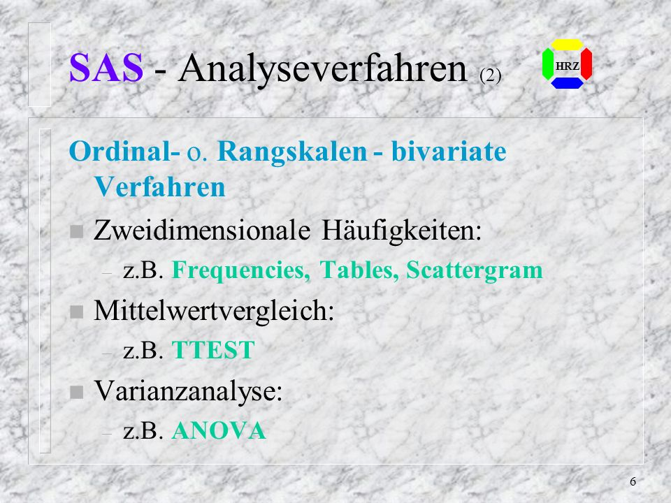 SAS - Analyseverfahren (2)