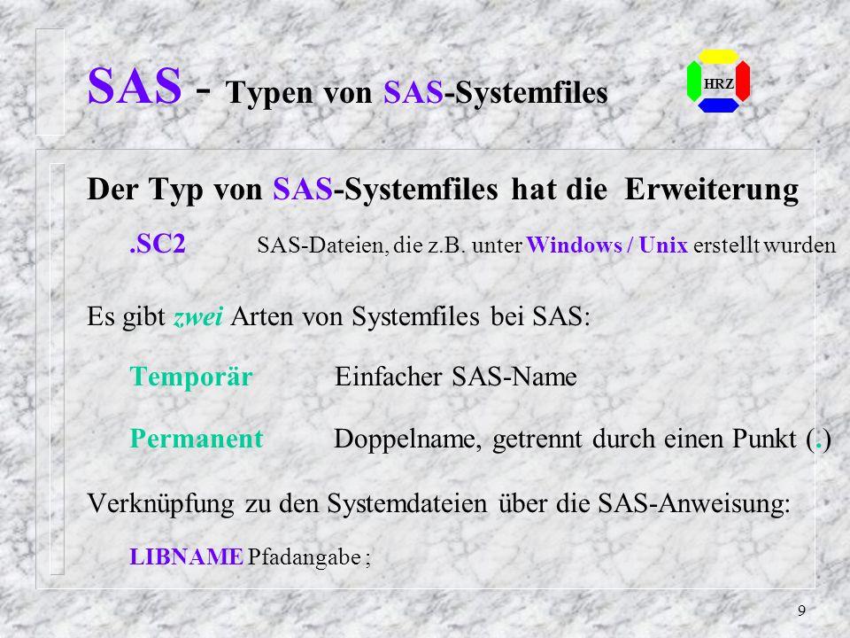 SAS - Typen von SAS-Systemfiles