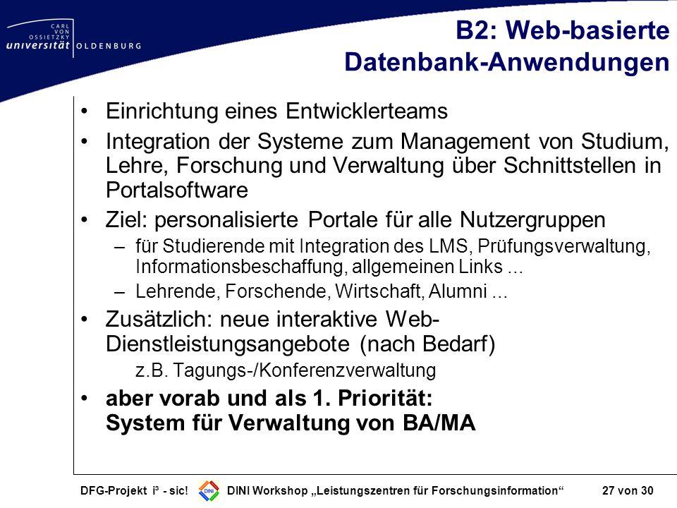 B2: Web-basierte Datenbank-Anwendungen