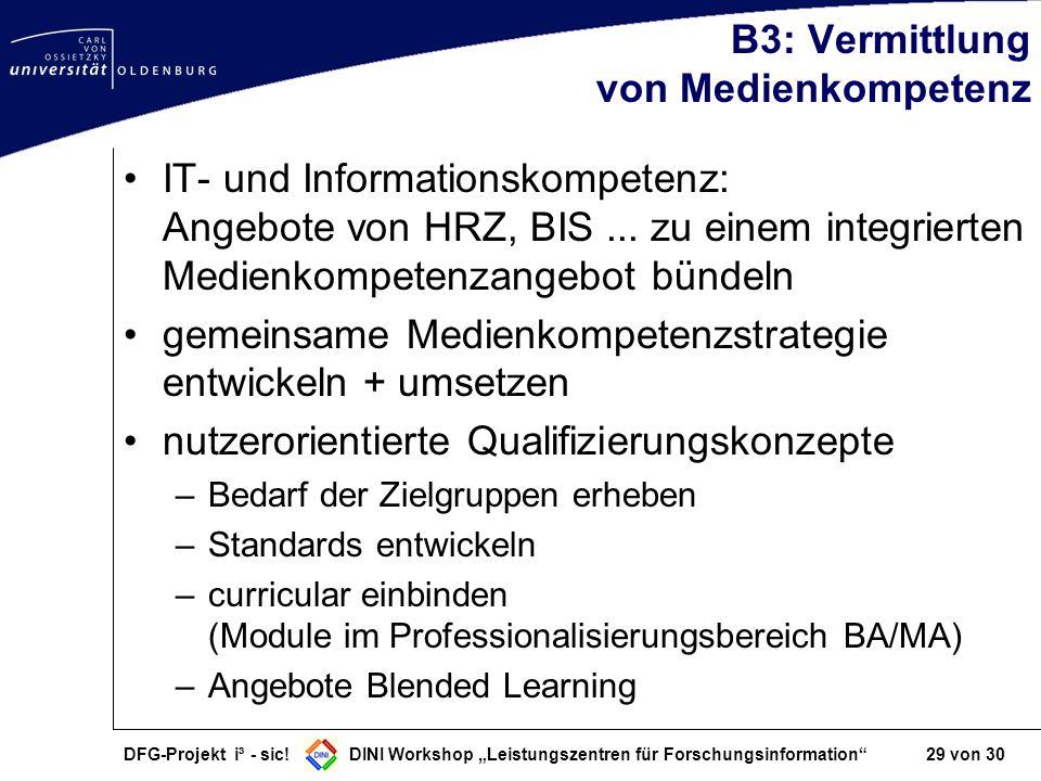 B3: Vermittlung von Medienkompetenz