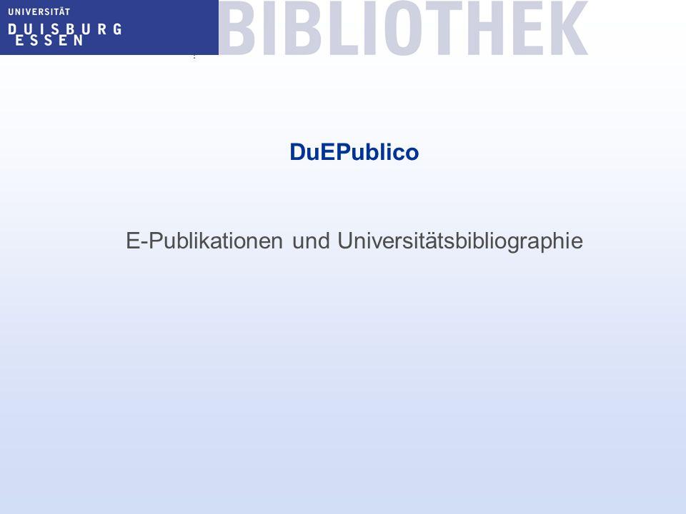 E-Publikationen und Universitätsbibliographie