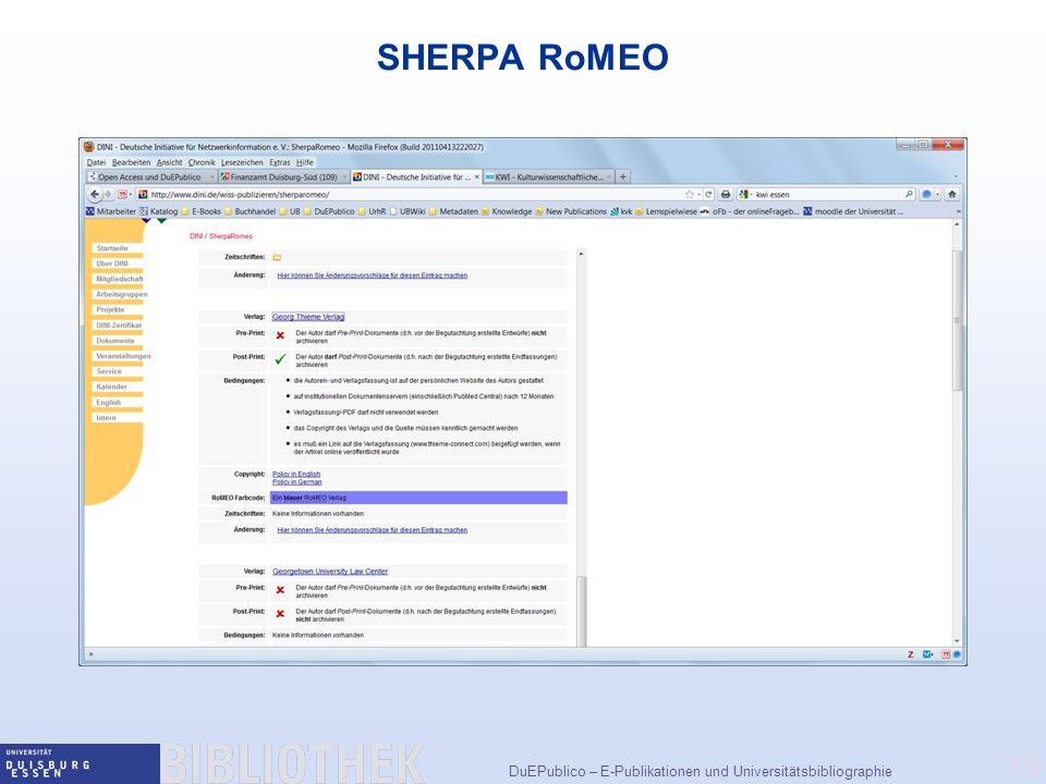 SHERPA RoMEO