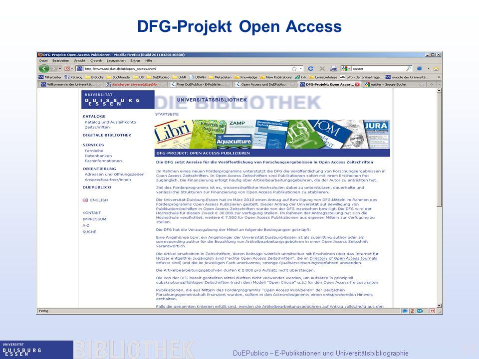 DFG-Projekt Open Access
