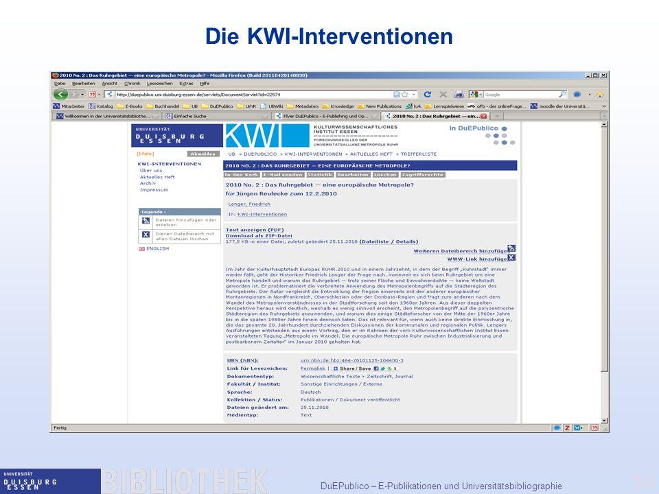 Die KWI-Interventionen