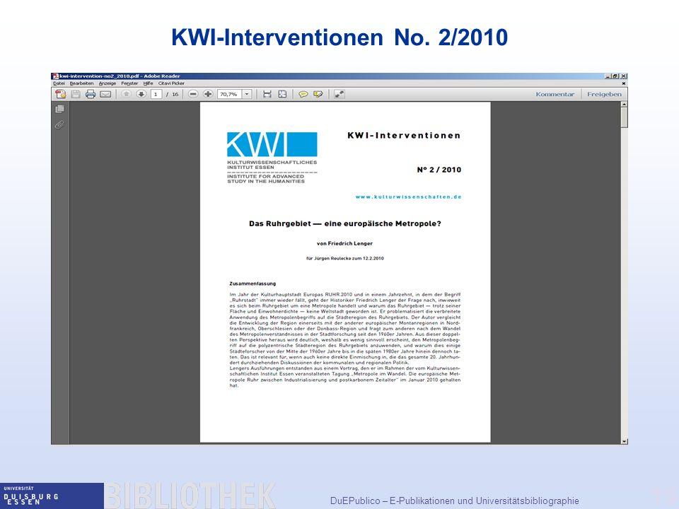 KWI-Interventionen No. 2/2010