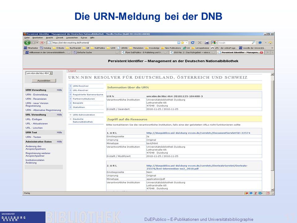 Die URN-Meldung bei der DNB