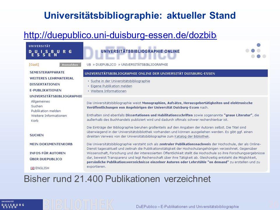Universitätsbibliographie: aktueller Stand