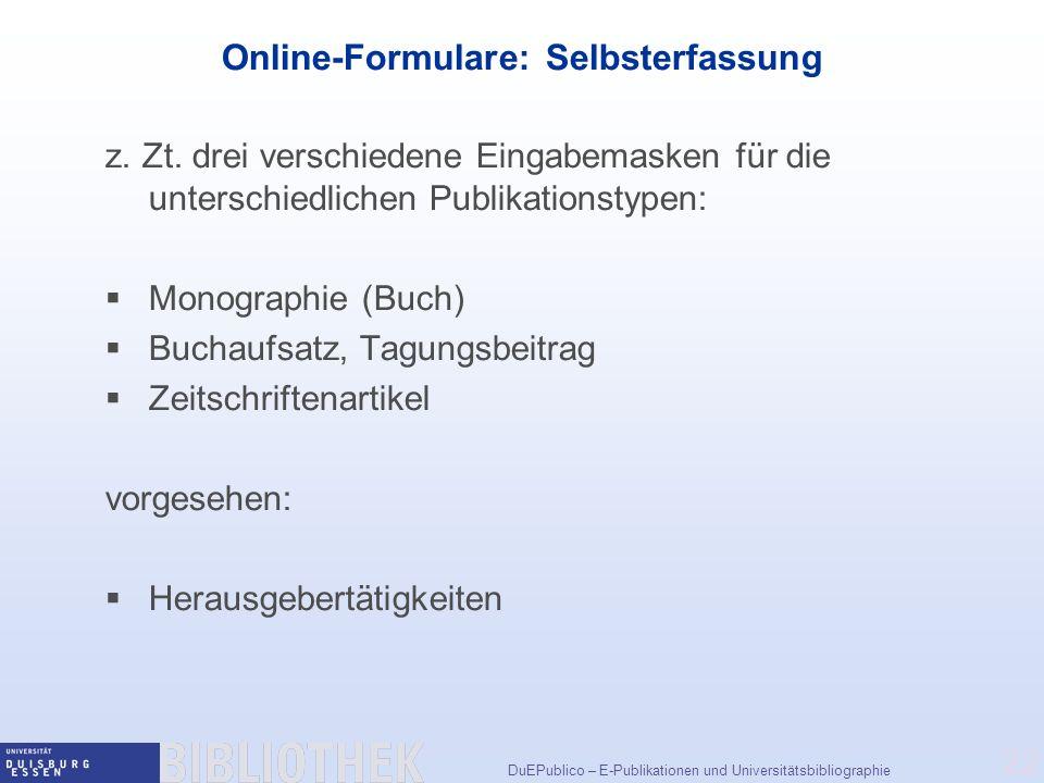 Online-Formulare: Selbsterfassung