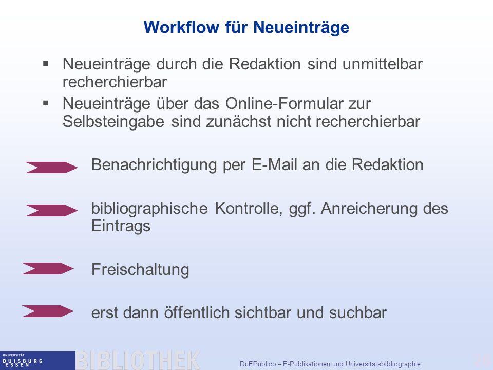 Workflow für Neueinträge