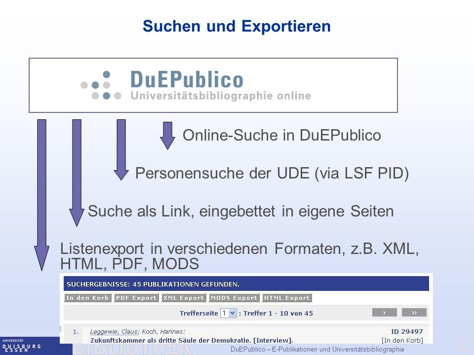 Suchen und Exportieren