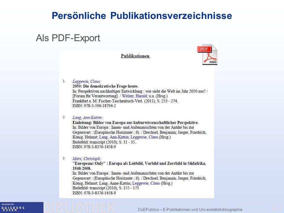 Persönliche Publikationsverzeichnisse