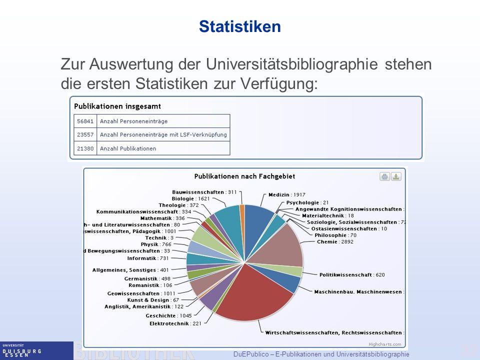 Statistiken Zur Auswertung der Universitätsbibliographie stehen die ersten Statistiken zur Verfügung: