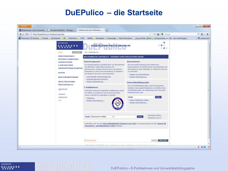 DuEPulico – die Startseite