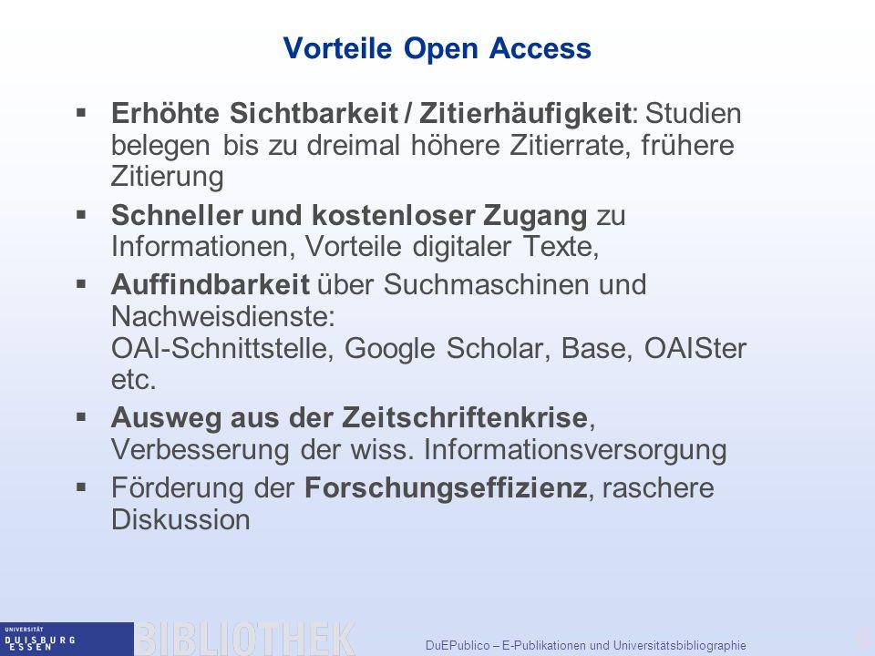 Vorteile Open Access Erhöhte Sichtbarkeit / Zitierhäufigkeit: Studien belegen bis zu dreimal höhere Zitierrate, frühere Zitierung.