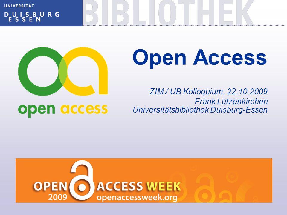 Open Access ZIM / UB Kolloquium, 22. 10