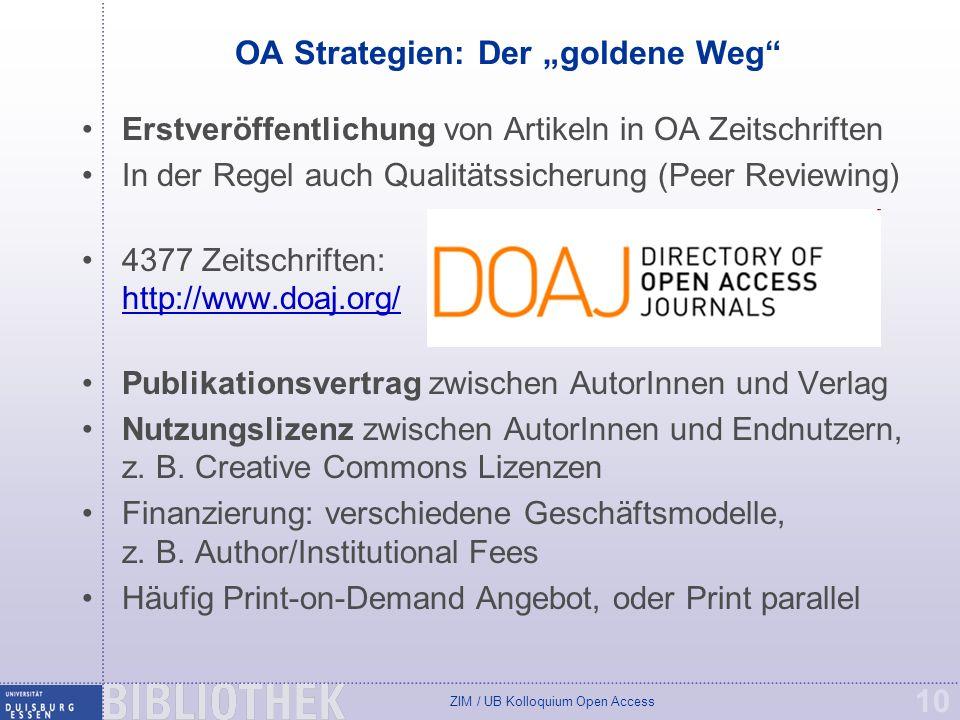 """OA Strategien: Der """"goldene Weg"""