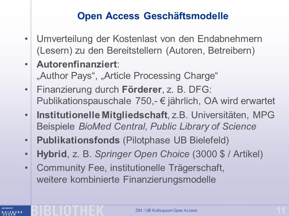 Open Access Geschäftsmodelle