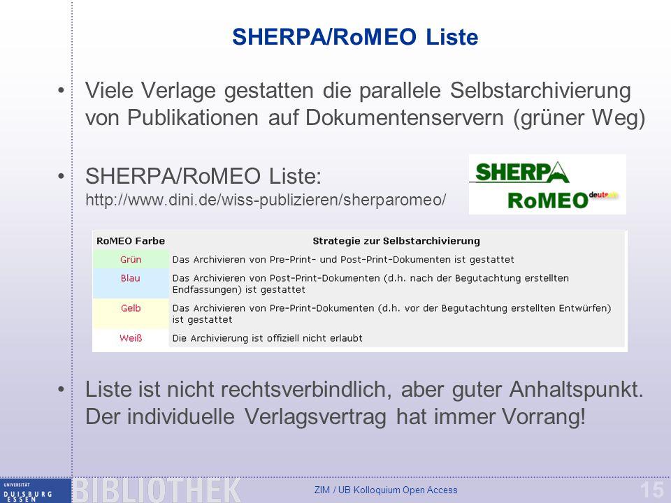 SHERPA/RoMEO Liste Viele Verlage gestatten die parallele Selbstarchivierung von Publikationen auf Dokumentenservern (grüner Weg)