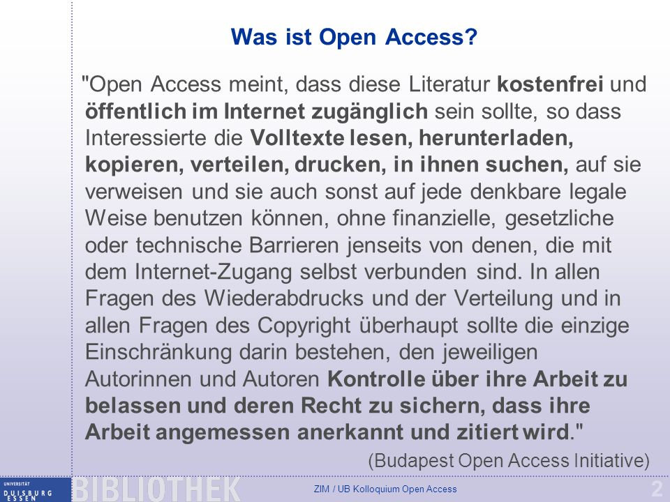 Was ist Open Access