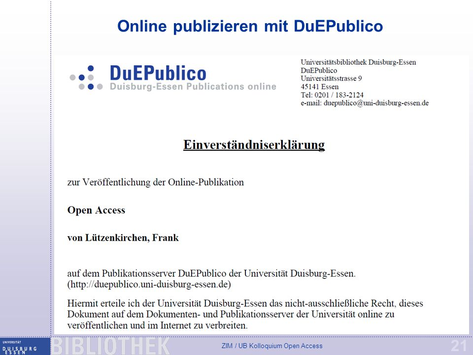 Online publizieren mit DuEPublico