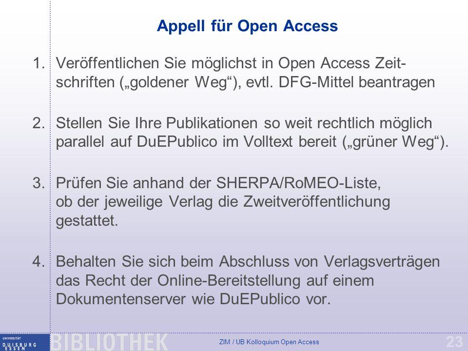 """Appell für Open Access Veröffentlichen Sie möglichst in Open Access Zeit-schriften (""""goldener Weg ), evtl. DFG-Mittel beantragen."""