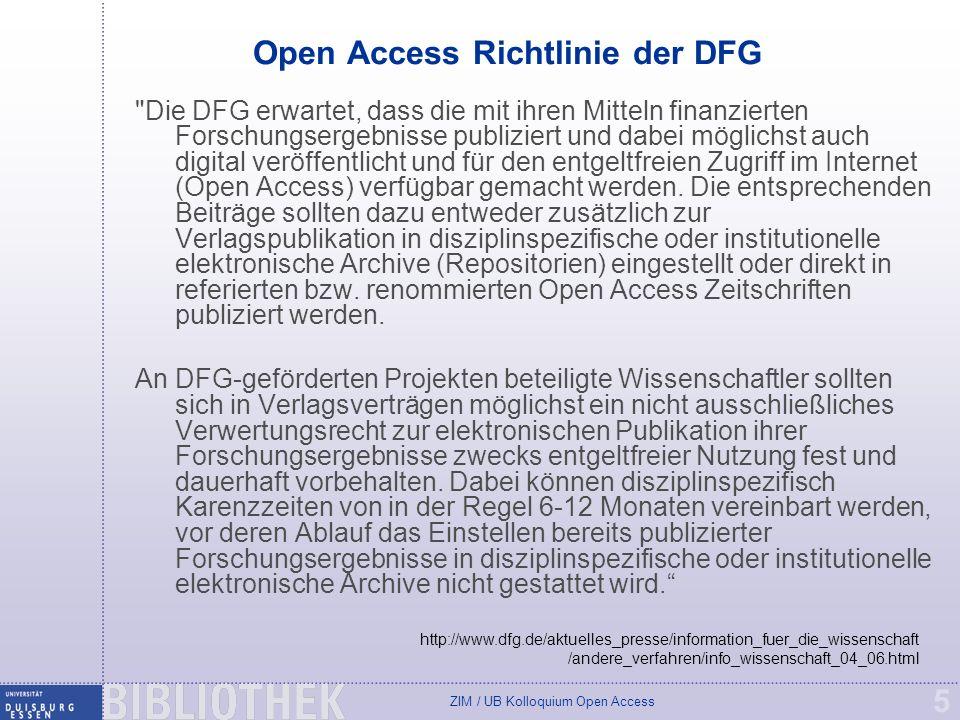 Open Access Richtlinie der DFG