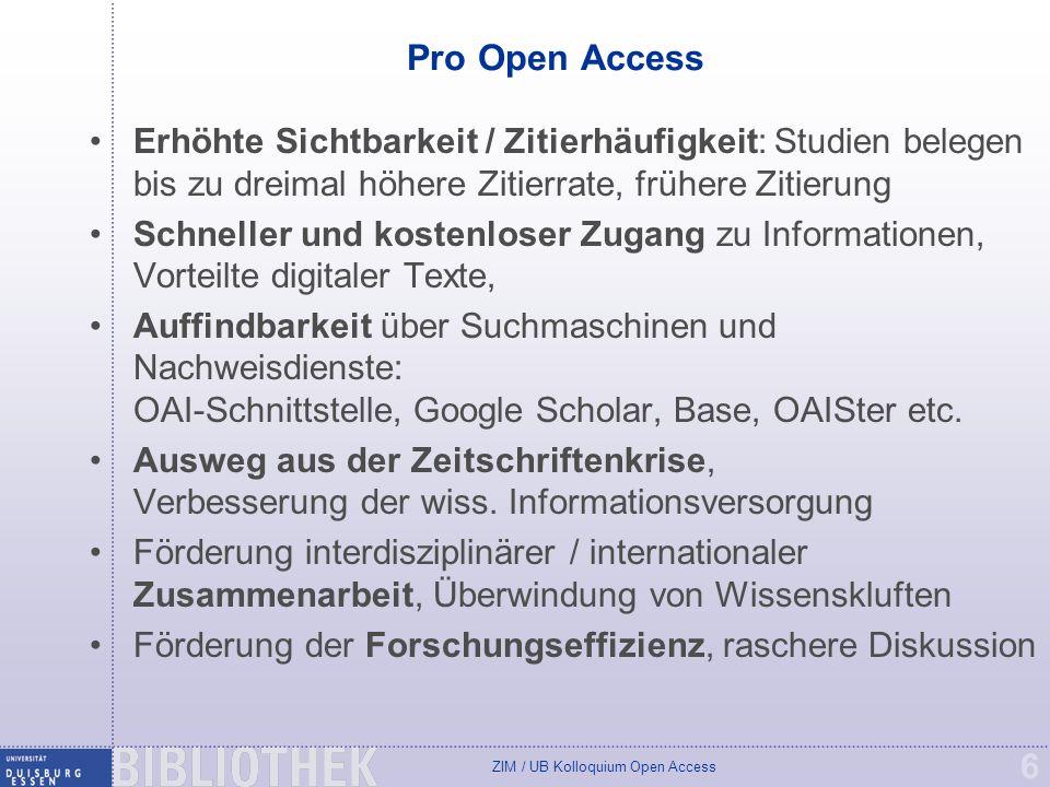 Pro Open Access Erhöhte Sichtbarkeit / Zitierhäufigkeit: Studien belegen bis zu dreimal höhere Zitierrate, frühere Zitierung.
