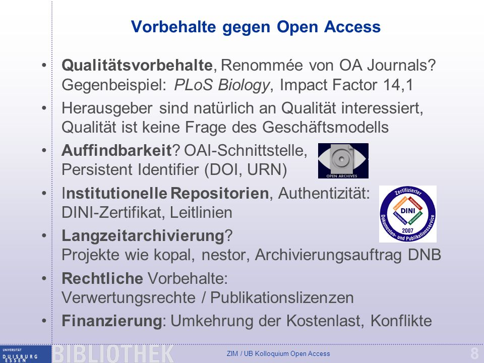 Vorbehalte gegen Open Access