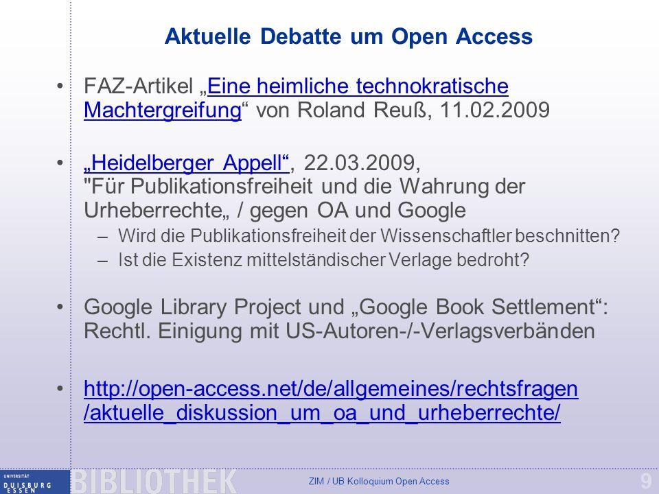 Aktuelle Debatte um Open Access