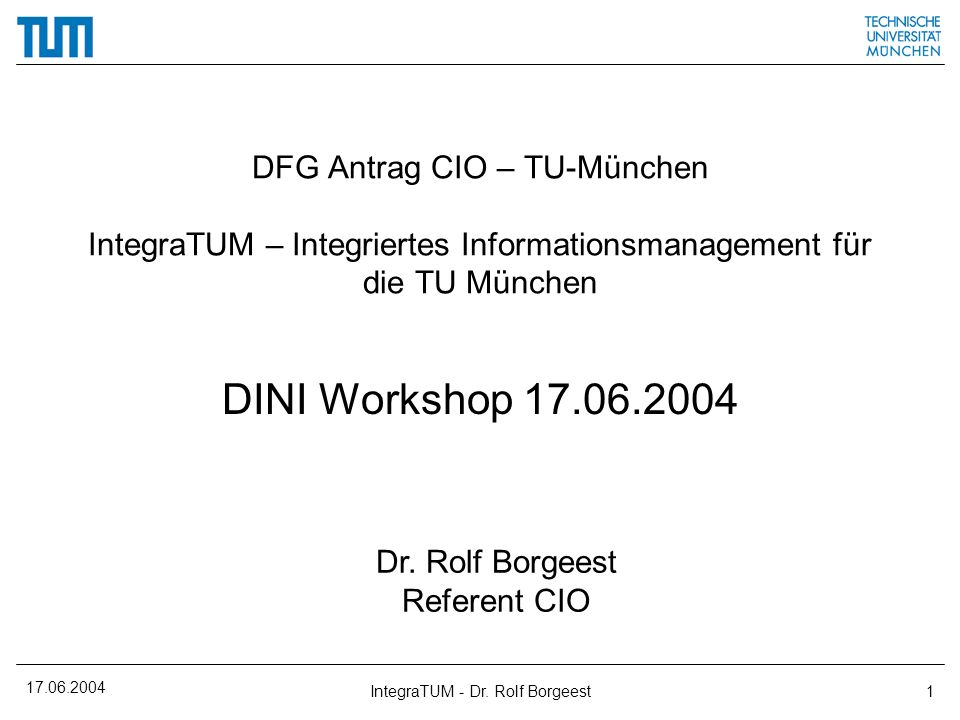 IntegraTUM - Dr. Rolf Borgeest
