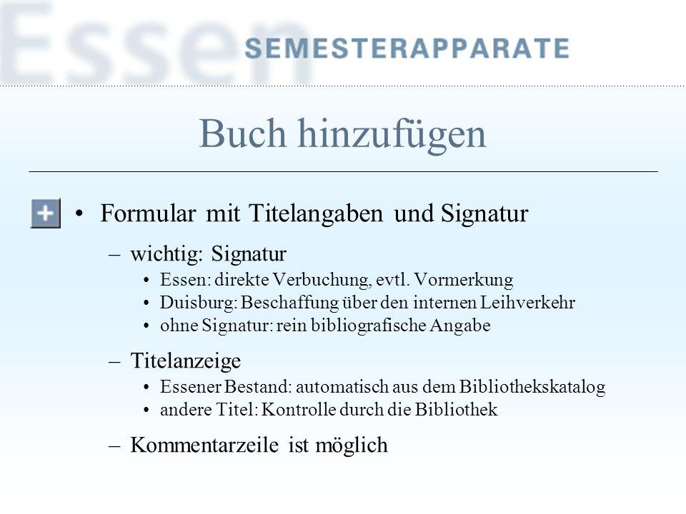Buch hinzufügen Formular mit Titelangaben und Signatur