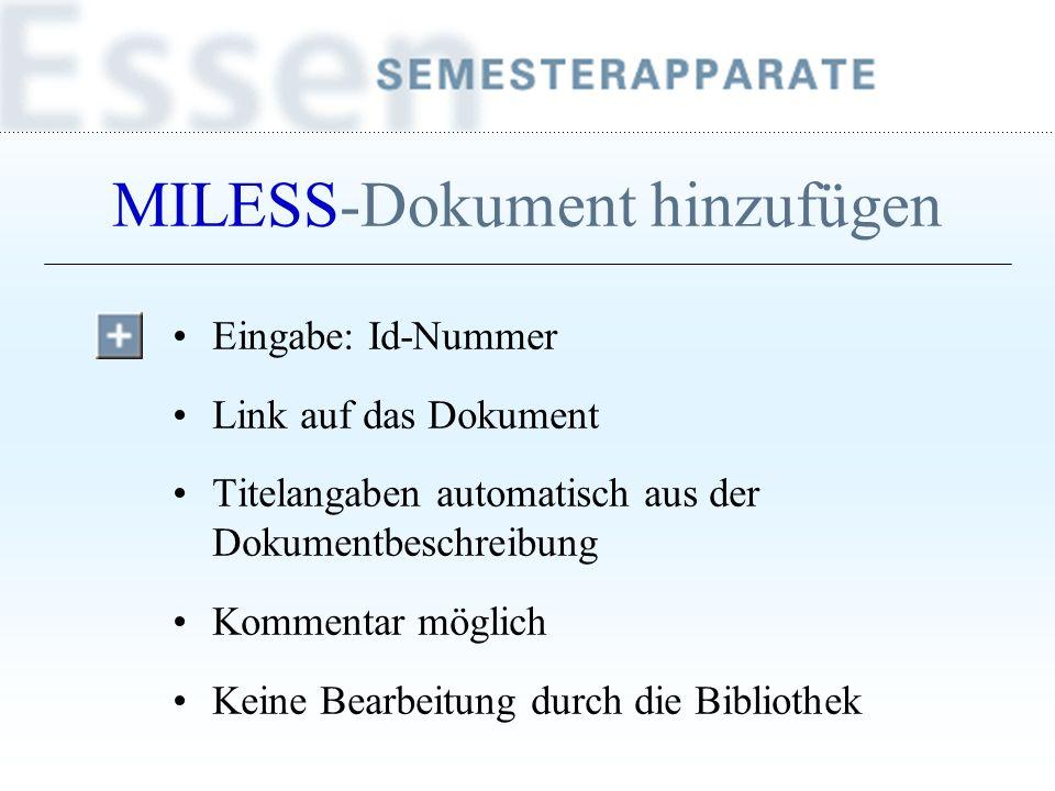 MILESS-Dokument hinzufügen
