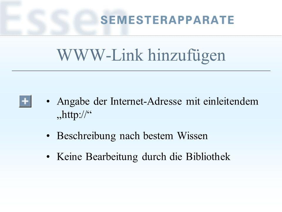 """WWW-Link hinzufügen Angabe der Internet-Adresse mit einleitendem """"http:// Beschreibung nach bestem Wissen."""