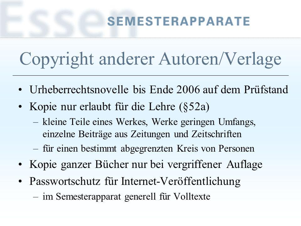 Copyright anderer Autoren/Verlage