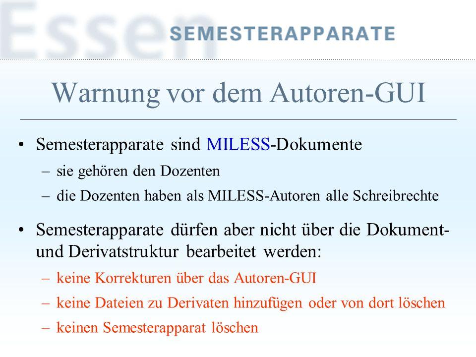 Warnung vor dem Autoren-GUI