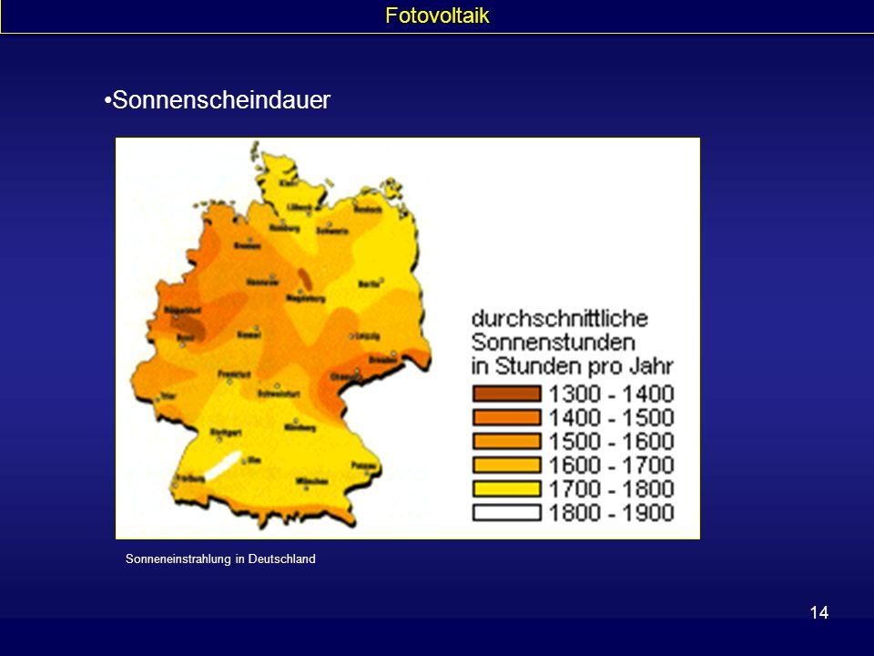 Fotovoltaik Sonnenscheindauer Sonneneinstrahlung in Deutschland
