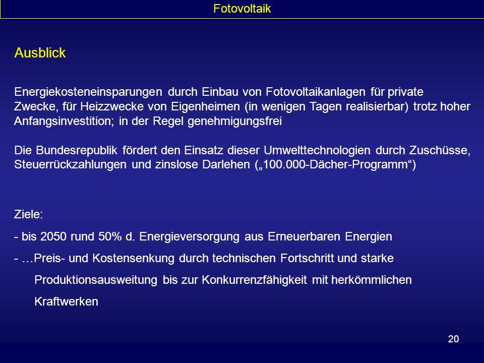 Fotovoltaik Ausblick.