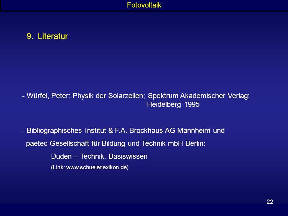 9. Literatur Fotovoltaik