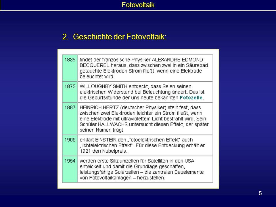2. Geschichte der Fotovoltaik: