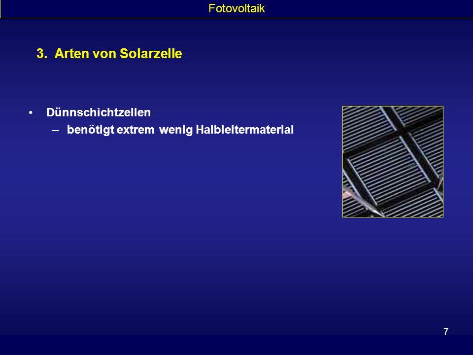 3. Arten von Solarzelle Fotovoltaik Dünnschichtzellen