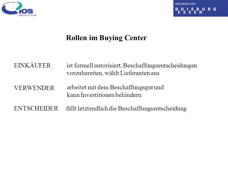 Rollen im Buying Center