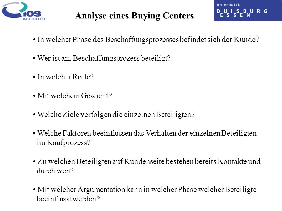 Analyse eines Buying Centers