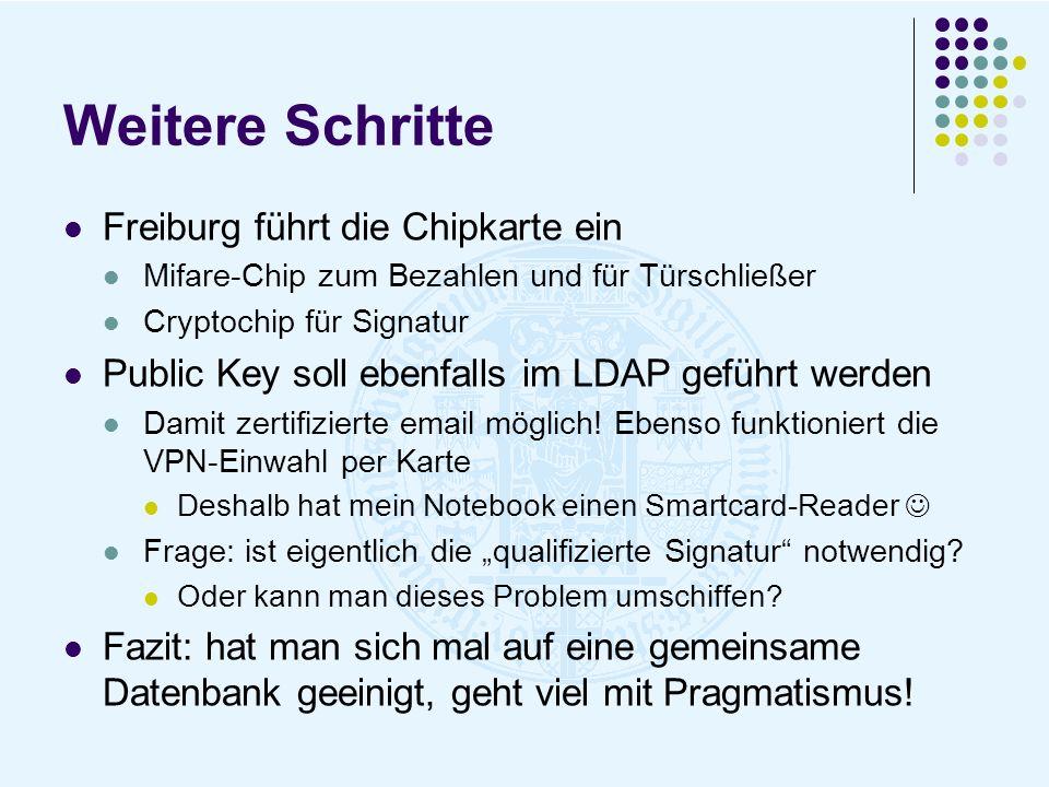Weitere Schritte Freiburg führt die Chipkarte ein