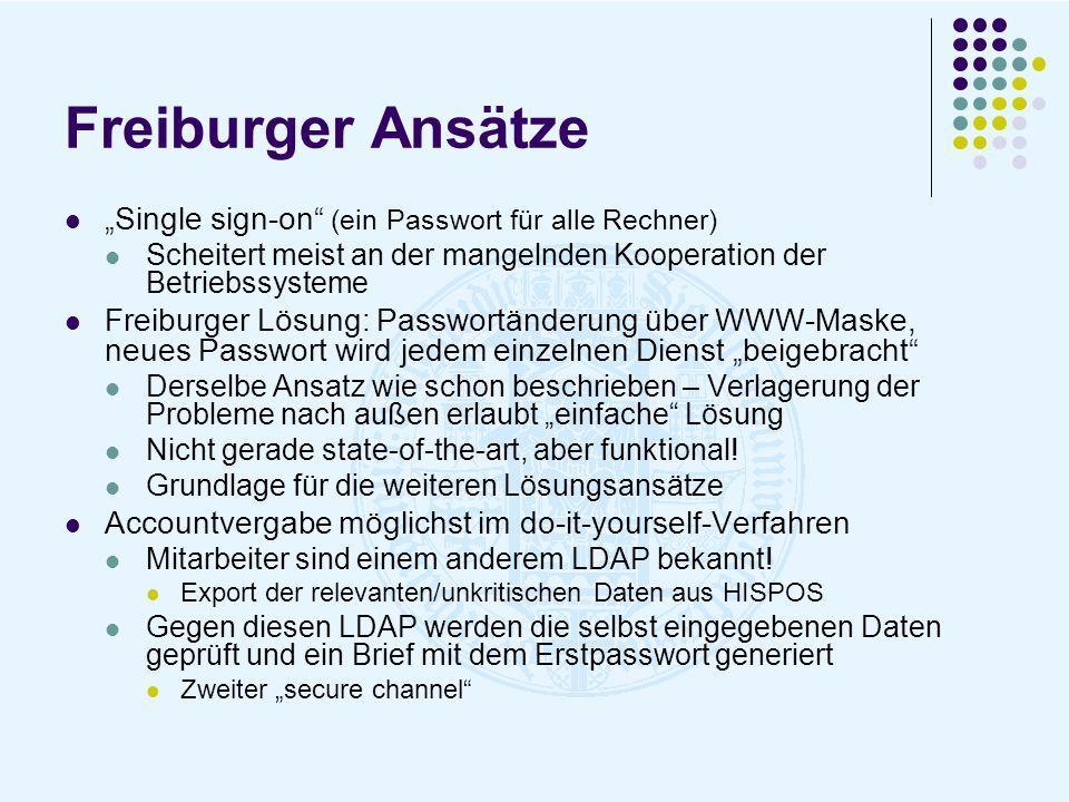 """Freiburger Ansätze """"Single sign-on (ein Passwort für alle Rechner)"""