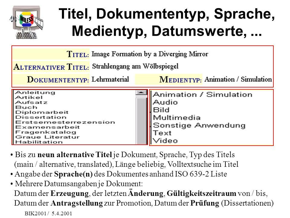 Titel, Dokumententyp, Sprache, Medientyp, Datumswerte, ...