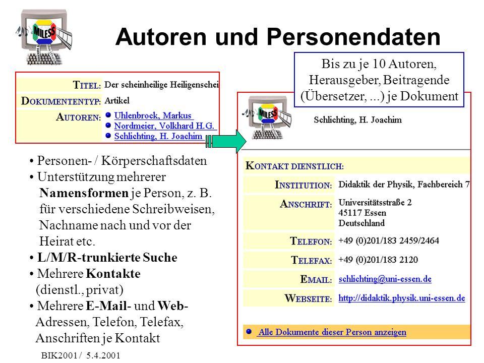 Autoren und Personendaten